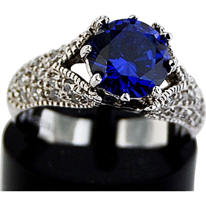 Sterling Ring w/Sapphire Color Cubic Zirconia
