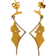 14K Yellow Gold Earrings in Shape of Peru