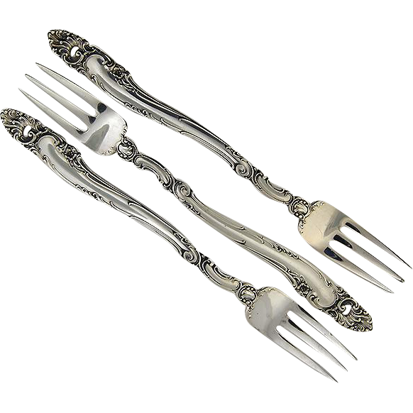Three Sterling Seafood / Cocktail Forks in Decor Pattern by Gorham