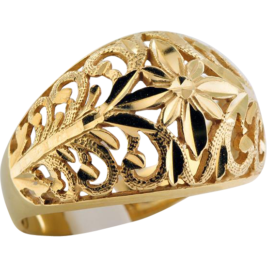 14K Yellow Gold Filigree Cutout Ring