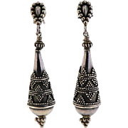 Pair of Sterling Drop Earrings in Etruscan Motif