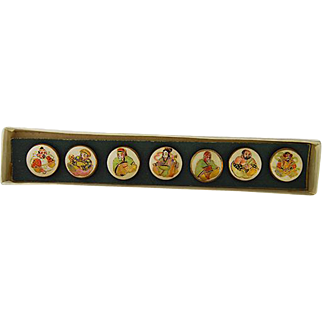 Satsuma Buttons of the Seven Immortal Gods in Original Box