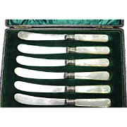 Six Silverplated MOP Handled Jam/Butter Knives