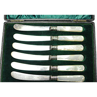 Six Silverplated MOP Handled Jam/Butter Knives