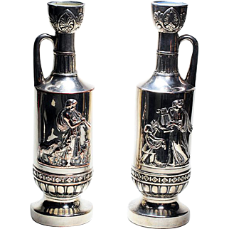 Pair of Silver Plate Wine Ewers