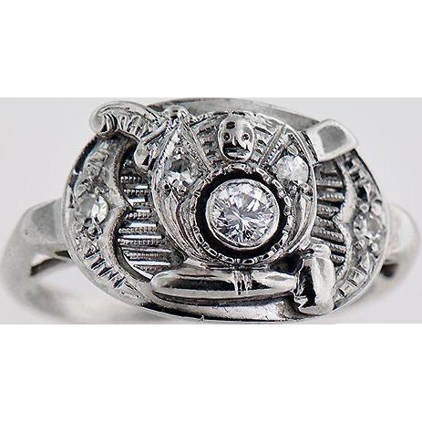 14K White Gold Lady's Shriner's Ring