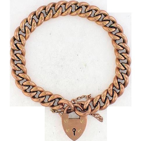 Antique English 9ct Rose Gold Curb Link Bracelet w/ Padlock