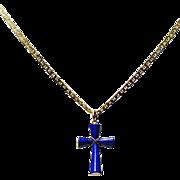 "Lapis Lazuli Cross with 14K 18"" Chain"
