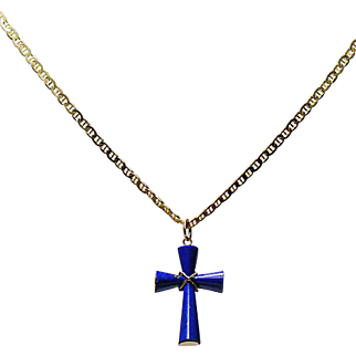 "Lapis Lazuli Cross with 14K 18"" Chain"