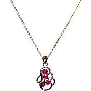 14K Yellow Gold Necklace w/ Rubies