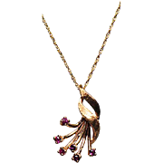 14K Necklace w/ dainty Chain and Custom Made Pendant w/ Genuine Rubies