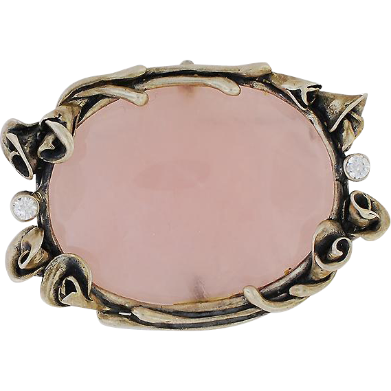 Rose Quartz Cab Set in a Sterling Pin w/Two CZ Gems
