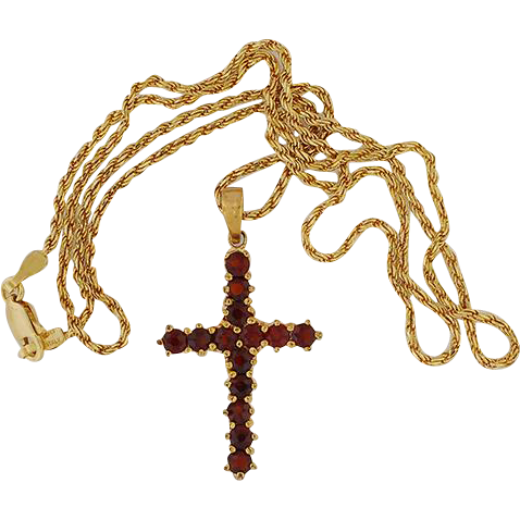 "Vermeil Cross set w/Garnets .. 18"" 14K Chain"