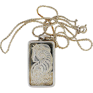 "18"" Sterling Necklace w/ Half Ounce .999 Silver Ingot Pendant"