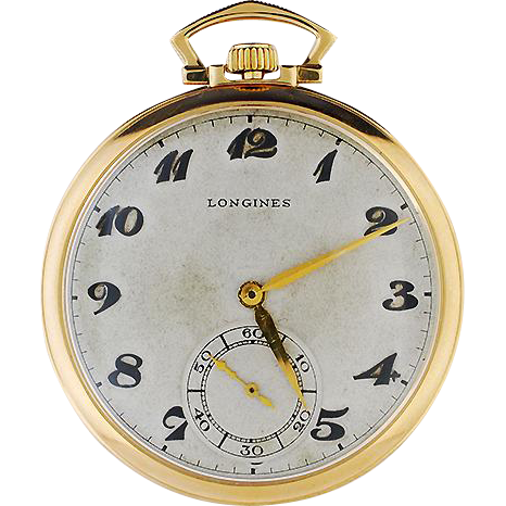 14K Yellow Gold Longines Pocket Watch and Chain in Original Case
