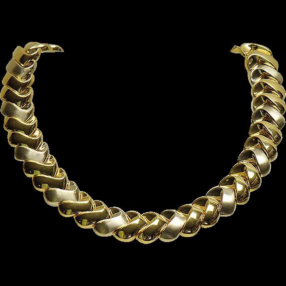 18k Italian Yellow & White Gold Necklace