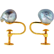 Pair of Blue Gray Baroque Pearl Earrings in 14K Yellow Gold