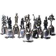 Ten Danbury Mint Silver Plated Bells  .. Christmas Motifs