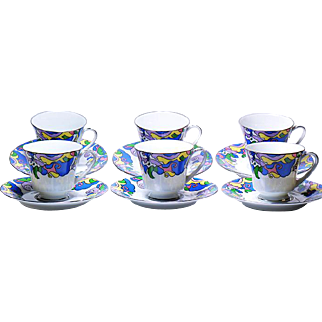Set of Six Noritake Cups & Saucers in a Fantasy Pattern