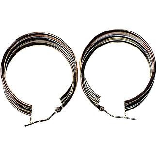 14K Gold Two Tone Earrings