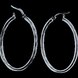 14K White Gold Long Earrings