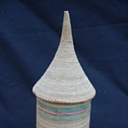 Petite, Multi-Colored Woven Basket, Base w Pointed Lid or Cap