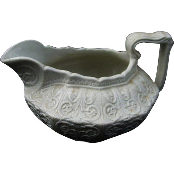 19th C. Molded Stoneware Cream Pitcher, England