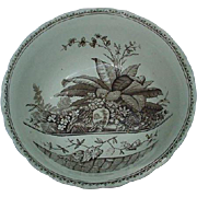 19th C. G.W. Turner & Sons English Brownware Bowl, Brazil Pattern