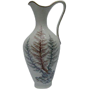 Schumann Porcelain Ewer with Fern Design by E. Baumann, signed and numbered