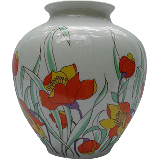 Kaiser Vase, Germany, Fresh Take on Abstract Florals in Orange and Yellow, Harlem Pattern