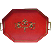 Elegant Red Serving Tray with Brass Handles, Ball & Claw Feet