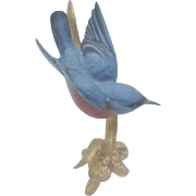 Tiny Boehm Bluebird on Goldtone Branch