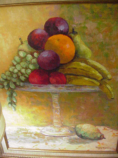 Vintage Still Life Oil, Fruit on a Glass Tazza, Artist Signed