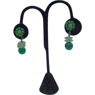 Miriam Haskell White and Green Beaded Dangle Clip Earrings