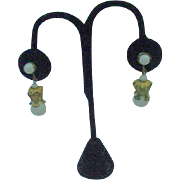 Miriam Haskell White Beaded Dangle Earrings