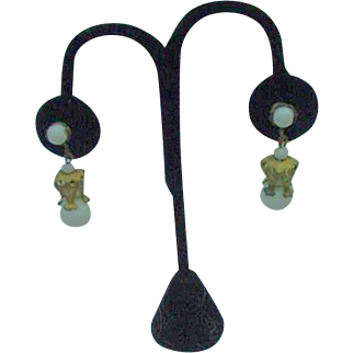 Miriam Haskell White Beaded Dangle Earrings