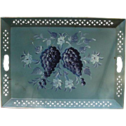 Vintage Tole Tray with Ripe Grape Clusters and White Flowers