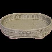 Vintage Oval White Wicker Tray