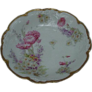 J. Pouyat, Limoges Porcelain Bowl with Pink Flowers, Daisies, and Larkspur