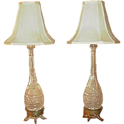 Grand Pair of Cut Glass Lamps, Bottle Shaped, Silk Shades