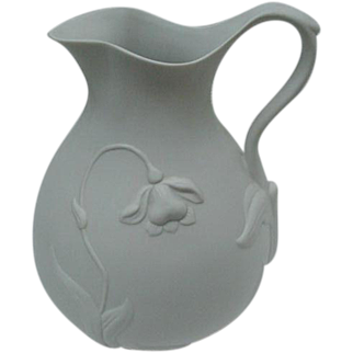 Metropolitan Museum of Art Matte White Ceramic Pitcher with Relief Floral Design