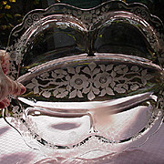 Elegant Glass Relish Dish with Etched Floral Design