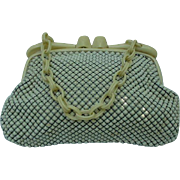 Whiting and Davis White Mesh Vintage Purse with Celluloid Handles