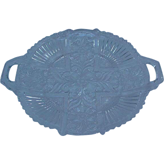 Vintage Pressed Glass Double-Handle Cake Plate, Dogwood Design
