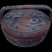 Vintage Hand-Painted Basket