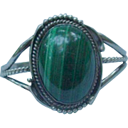 Malachite and Silver Cuff Bracelet, Sgn'd Andress