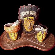 Antique Cold Painted Metal, 4-Piece Indian Motif Smoking Set