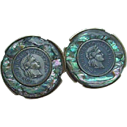 Swank Coin Cuff Links with Goldtone Backing and Abalone Surround