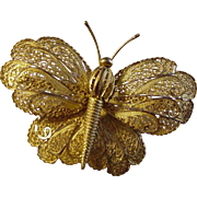 Vintage Filigree Butterfly in Gold-Tone Metal