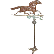 Vintage Copper Weather Vane on Stand, Horse